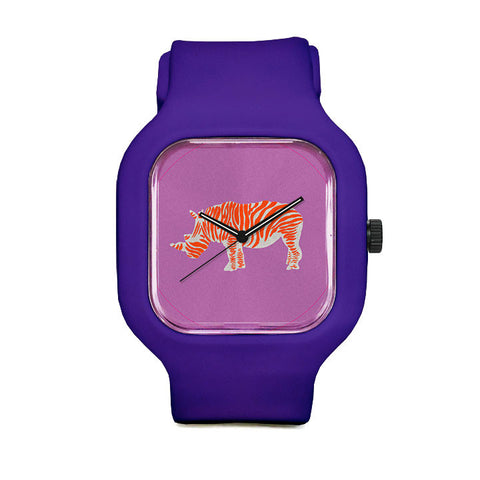 Orange Striped Rhino Sport Watch