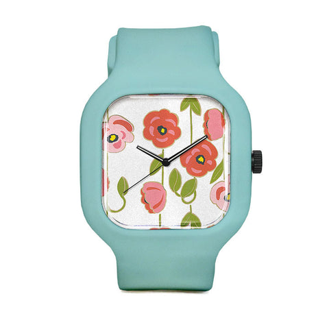 Pink Flowers Sport Watch