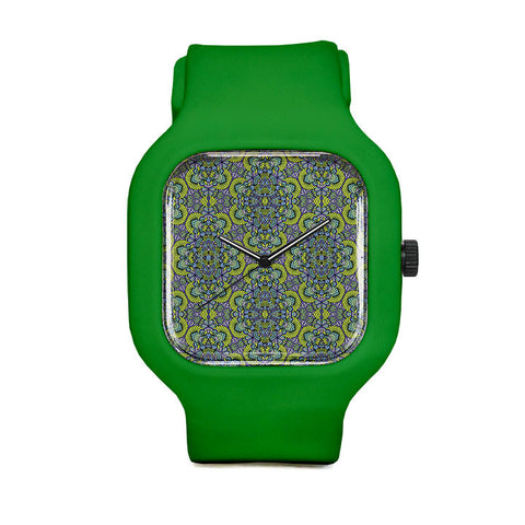 Green Pattern Sport Watch