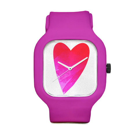 Heart In Hand Fuchsia White Sport Watch