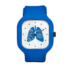 Free to Breathe Lungs Dark Blue Sport Watch