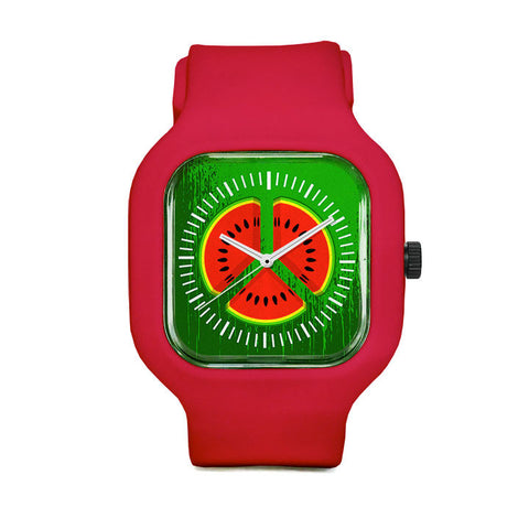 Watermelon Peace Sign Sport Watch