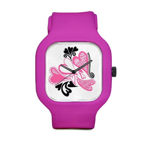 PinkHeart Doodle Sport Watch