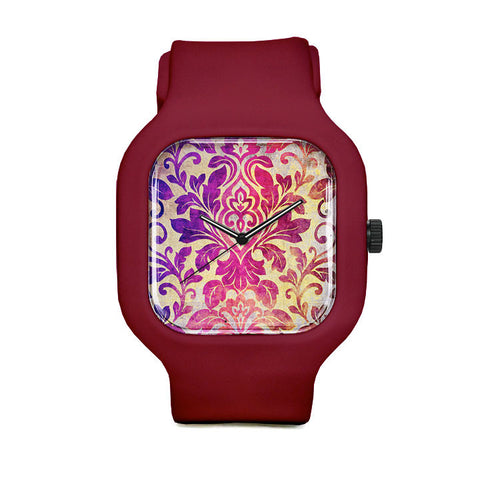 Purple Damask Pattern Sport Watch