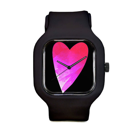 Heart In Hand Fuchsia Black Sport Watch