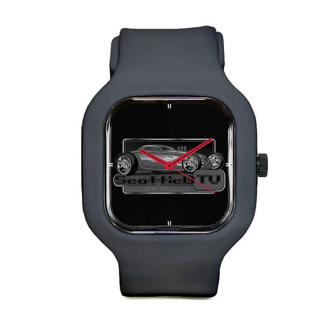 Black and White Logo Sport Watch