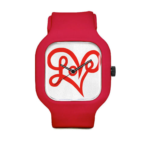 LoveHeart Typography Sport Watch