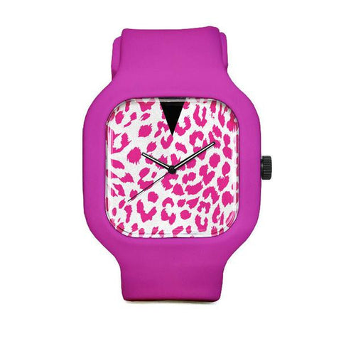 Pink Leopard Watch with Pink Strap