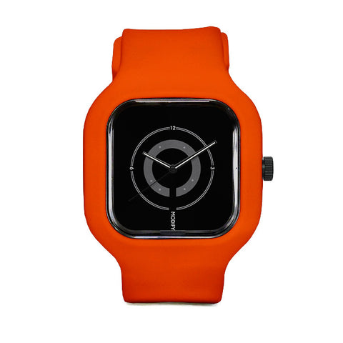 Black Circles Watch with Orange Strap