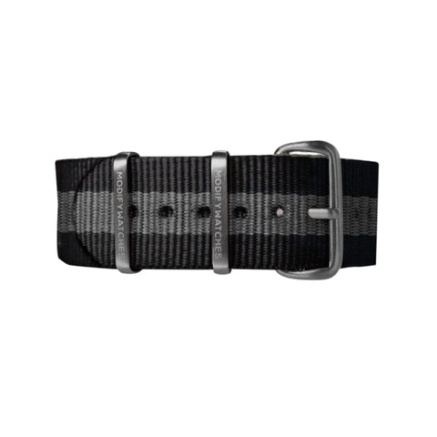 Black Grey Nylon Watch Strap