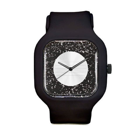 Composition Watch with Black Strap