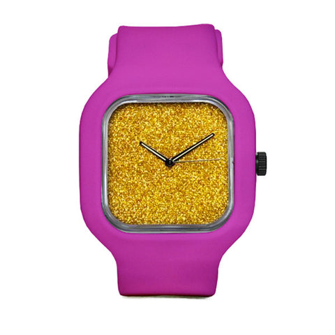 Gold Glitter Watch with Pink Strap