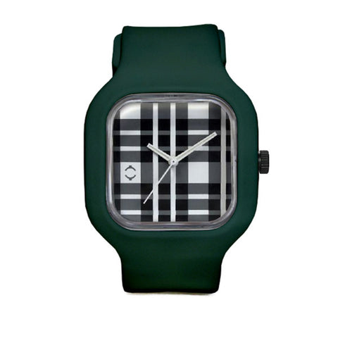 Plaid Watch with Deep Green Strap