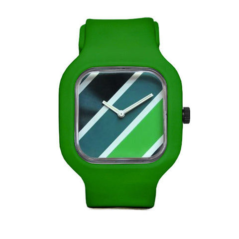 Stripes Watch with Green Strap