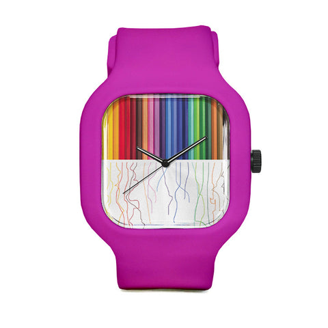 Colored Pencils Watch with Pink Strap
