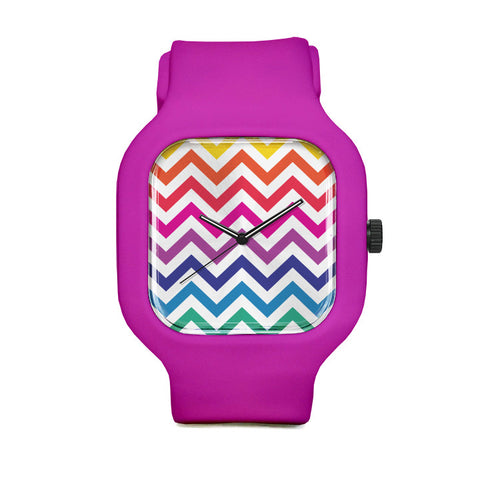 Rainbow Chevron Watch with Pink Strap