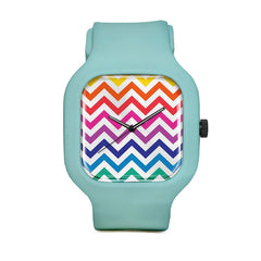 Rainbow Chevron Watch with Seafoam Green Strap