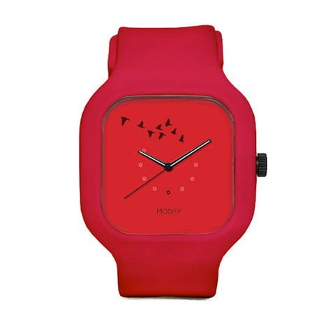 Red Birds Watch with Red Strap And Red Case