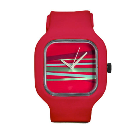 Metallic Stripes Watch with Red Strap