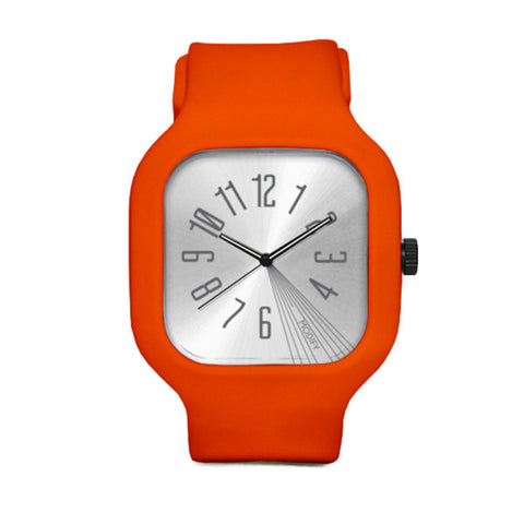 Silver Watch with Orange Strap