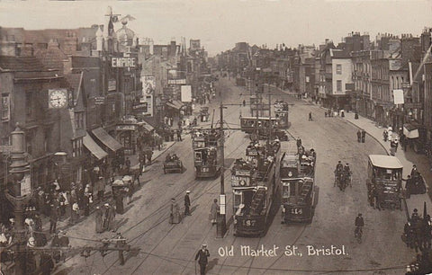 An old photograph of Old Market Street, Bristol