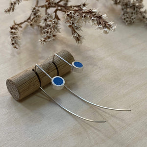 Clare Lloyd Earrings Blue Contemporary Round Wire Earrings (various colours)