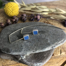 Load image into Gallery viewer, Clare Lloyd Earrings Blue Contemporary Square Wire Earrings