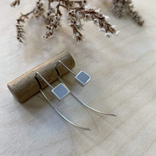 Load image into Gallery viewer, Clare Lloyd Earrings Grey Contemporary Square Wire Earrings (various colours)