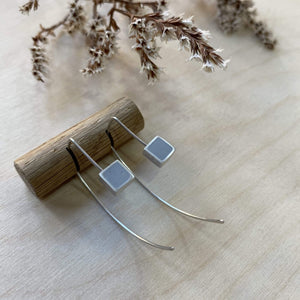 Clare Lloyd Earrings Grey Contemporary Square Wire Earrings (various colours)