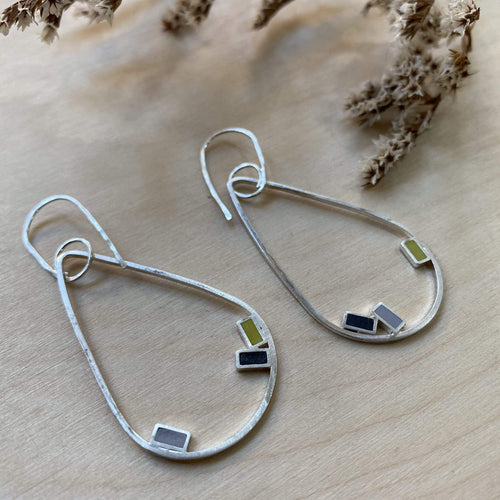 Clare Lloyd Earrings Yellow/Grey/Black Rectangles Large Teardrop Earrings (various colours)