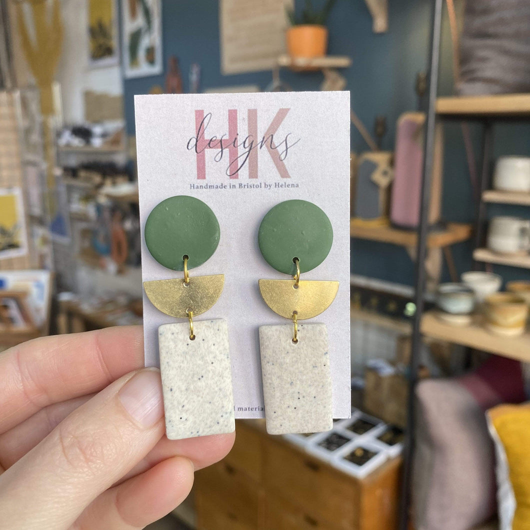 HK Designs Earrings Boho-Dangle (Forest Green)