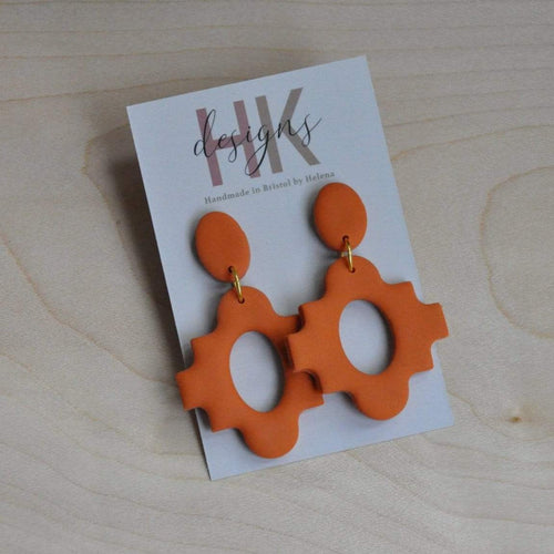 HK Designs Earrings Cognac Moroccan Cross Earrings