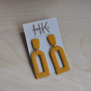 HK Designs Earrings Mustard Embossed 'Arch' Earrings