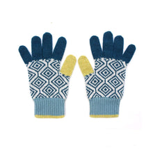 Load image into Gallery viewer, Katie Victoria Gloves Teal Wave Gloves - 100% Merino Lambswool