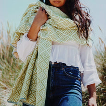 Load image into Gallery viewer, Katie Victoria Scarf Citrus Wave Wrap Scarf  - 100% Merino Lambswool