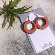 Load image into Gallery viewer, Kay Morgan Earrings Coral Hoop Earrings - Small (various colours)