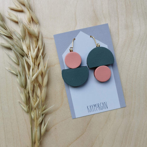 Kay Morgan Earrings Pale pink & grey Semi Dot Earrings - (various colours)