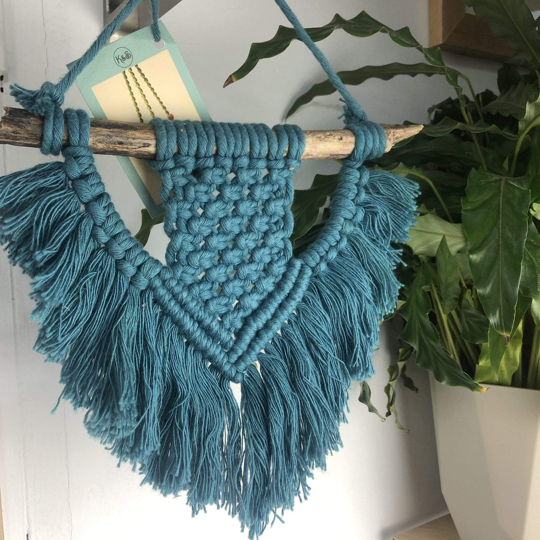Knots & Shots Macrame Wall hanging Blue Macrame Wall Hangings - medium (various colours)