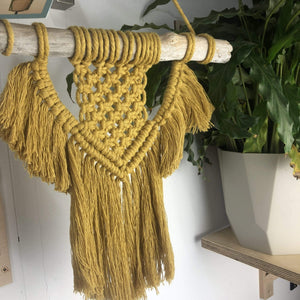 Knots & Shots Macrame Wall hanging Mustard Macrame Wall Hangings - medium (various colours)