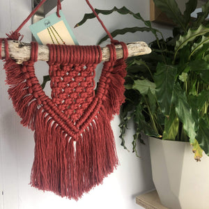 Knots & Shots Macrame Wall hanging Red Macrame Wall Hangings - medium (various colours)