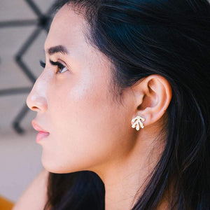 Lima Lima Earrings Brass Leaf Studs