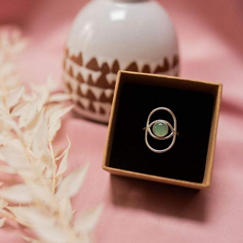 Lima Lima Ring EcoSilver with Aventurine Stone (Ring size Q) Eye Ring (various colours and sizes)