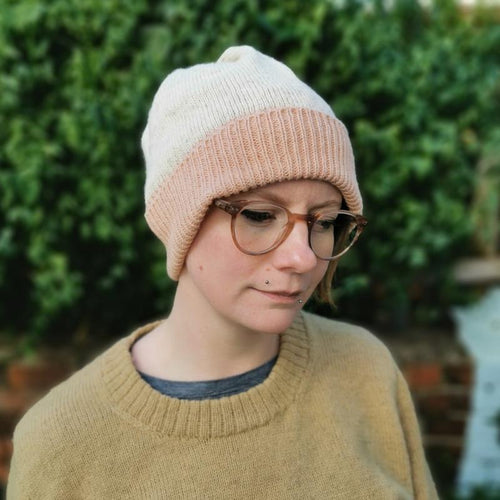 Ria Burns Hat Avocado Pink Naturally Dyed Beanie - 100% Lambswool (various colours)
