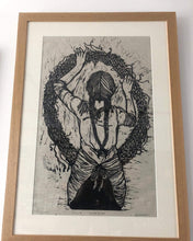 Load image into Gallery viewer, Rosanna Morris Prints Lino Print ' Julie Wreath' (print only or framed)