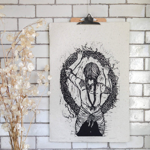 Rosanna Morris Prints Lino Print ' Julie Wreath' (print only or framed)
