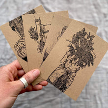 Load image into Gallery viewer, Rosanna Morris Prints Lino Print Postcards  - 'Women Who Farm' (pack of 4) - With Envelopes