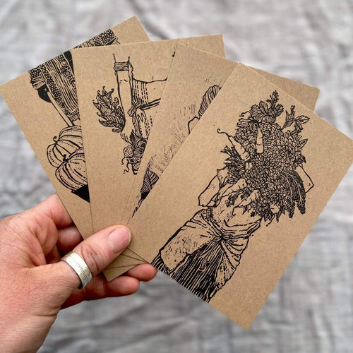Rosanna Morris Prints Lino Print Postcards  - 'Women Who Farm' (pack of 4) - With Envelopes