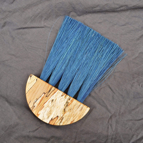 Slow Made Goods Brush Spalted Beech Table Brush - with Indigo Dyed Tampico fibre