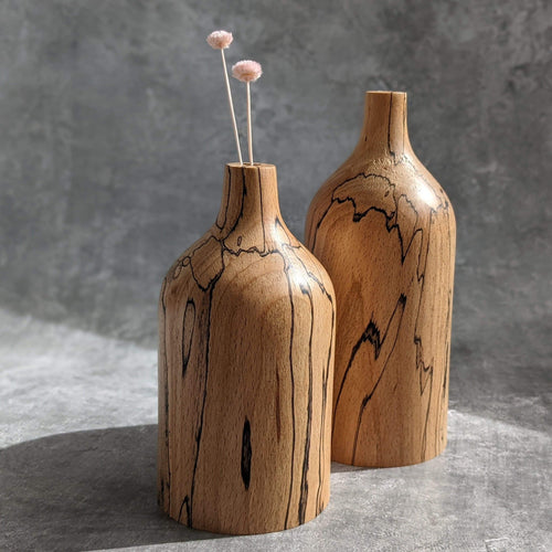 Something From The Turnery Vase Pair Of Bud Vases in Spalted Beech
