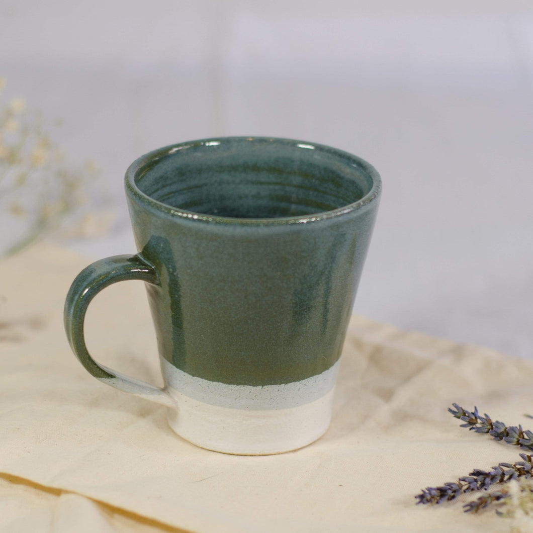 Sophie Delarny Ceramics Mugs - Sea Green & White